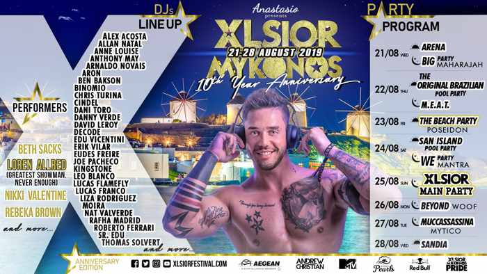 2019 Mykonos XLSIOR Festival party and DJ lineup