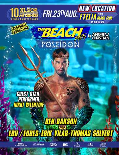 XLSIOR Mykonos Festival beach party on August 23 at Ftelia Beach Club