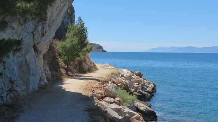 Greece, Peloponnese, Nafplio, Karathona, Karathona path, path, footpath, trail, walkway, coast, seaside, Argolic Gulf, sea, water, cliff