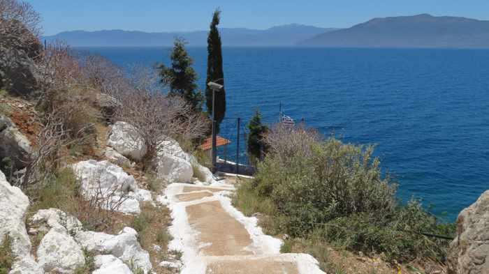 Greece, Peloponnese, Karathona, path, trail, coast, church path, Agios Nikolaos Church, Agios Nikolaos Church at Karathona, path, steps, stairs, trail,
