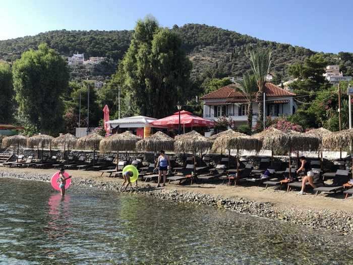 Greece, Greek island, Saronic island, Poros, Poros Greece, Poros island, Poros beach, Colona Beach Poros, Askeli beach Poros, coast, shore, children, people,