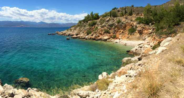 Greece, Peloponnese, Nafplio, Karathona, coast, seaside, shore, sea, bay, cove, water, Argolic Gulf,