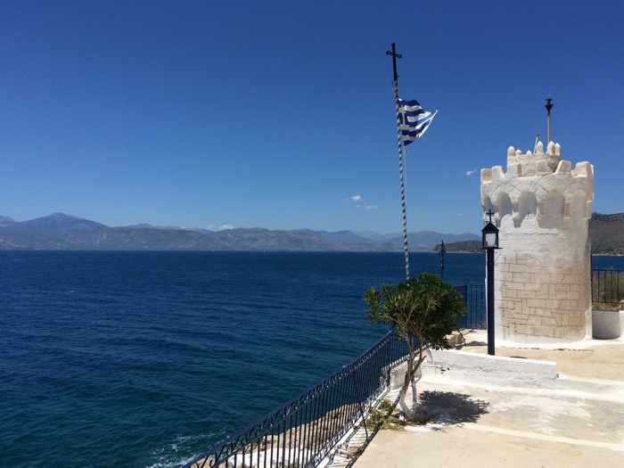 Greece, Peloponnese, Karathona, path, trail, coast, church path, Agios Nikolaos Church, Agios Nikolaos Church at Karathona, Argolic Gulf, sea, coast