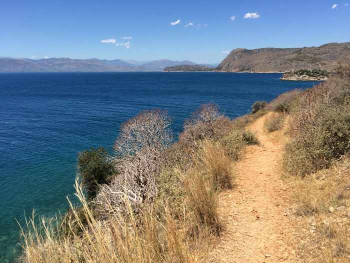 Greece, Peloponnese, Karathona, path, trail, coast, church path, Agios Nikolaos Church, Agios Nikolaos Church at Karathona,