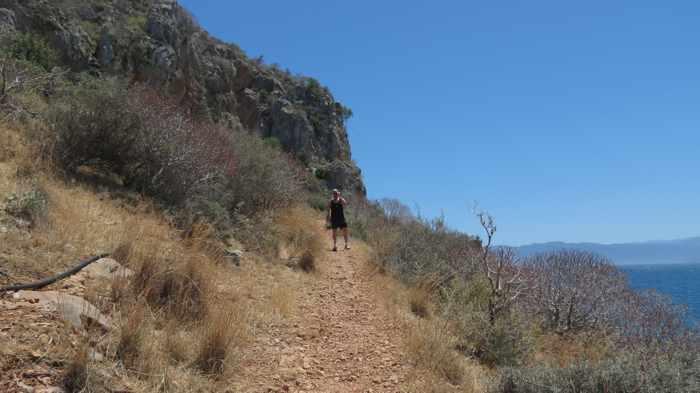 Greece, Peloponnese, Karathona, path, trail, coast, church path, Agios Nikolaos Church, Agios Nikolaos Church at Karathona, path, trail, cliff,