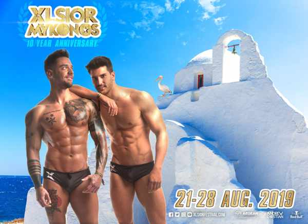 Promotional image for the 2019 XLSIOR Festival on Mykonos