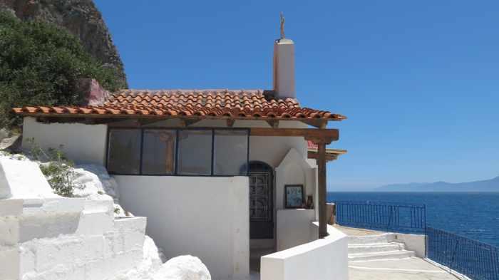 Greece, Peloponnese, Karathona, path, trail, coast, church path, Agios Nikolaos Church, Agios Nikolaos Church at Karathona, building, chapel,