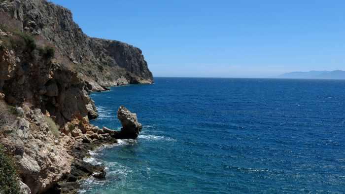 Greece, Peloponnese, Karathona, path, trail, coast, church path, Agios Nikolaos Church, Agios Nikolaos Church at Karathona, coast, sea, Argolic Gulf