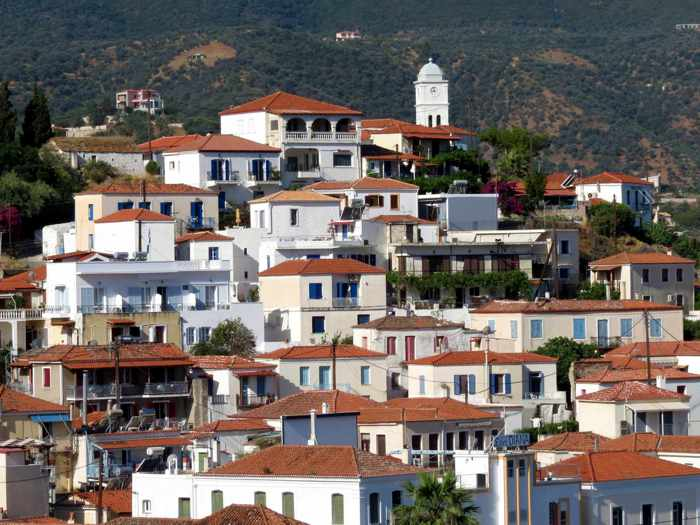 Greece, Greek island, Saronic island, Poros, Poros Greece, Poros island, Poros Town, buildings, houses, architecture,