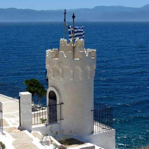 Greece, Peloponnese, Karathona, path, trail, coast, church path, Agios Nikolaos Church, Agios Nikolaos Church at Karathona, church tower, sea, coast