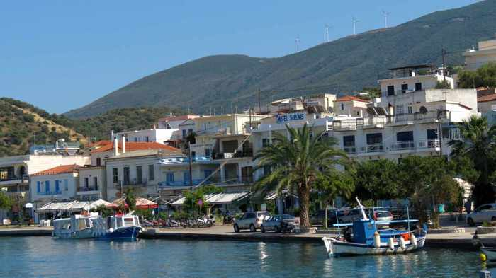 Greece, Peloponnese, Galatas, waterfront, seafront, Saronic Gulf,