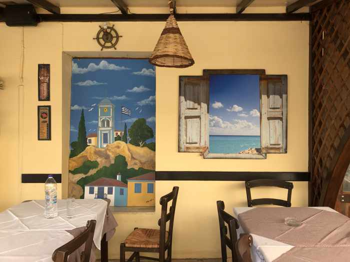 Greece, Greek island, Saronic island, Poros, Poros Greece, Poros island, taverna, Greek taverna, mural, wall mural, artwork, Poros Town, restaurant,