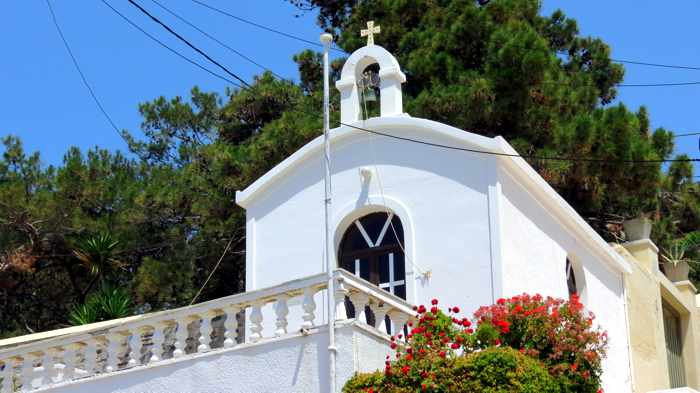 Greece, Greek Islands, Cyclades, Siros,Syros, Syros island, Kini, Kini Bay, Kini Bay Syros, Sini village, village, church, Agios Petros Church Kini Bay, building,