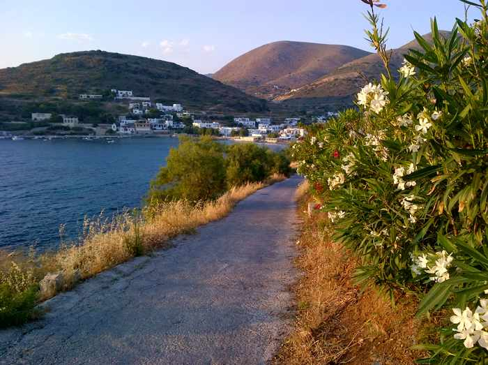Greece, Greek Islands, Cyclades, Siros, Syros, Kini Bay, Kini beach, Kini village, landscape, road,