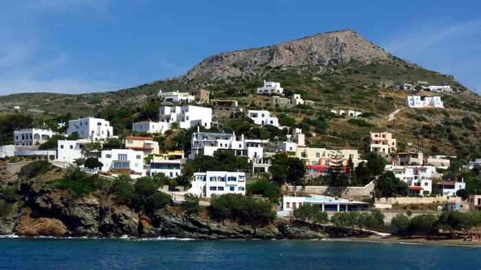 Greece, Greek Islands, Cyclades, Siros, Syros, Syros island, Kini, Kini Beach, Kini Bay, Lotos beach, houses, buildings, hill, mountain