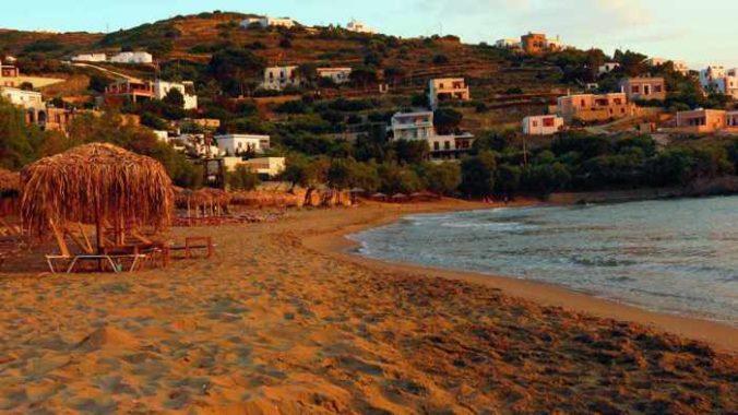 Greece, Greek Islands, Cyclades, Siros, Syros, Kini Bay, Kini beach, Kini village, landscape, coast, seaside, beach, Kini Beach, Kini Beach Syros, sand, sea,