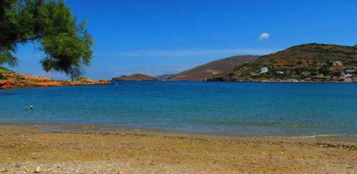 Greece, Greek Islands, Cyclades, Siros, Syros, Syros island, sea, coast, beach, Lotos, Lotos Beach, Lotos Beach Syros, beach, sea, trees, bay, sea