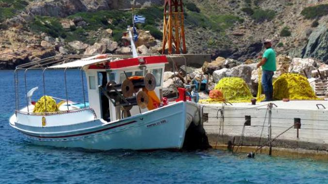 Greece, Greek Islands, Cyclades, Siros, Syros, Kini Bay, Kini beach, Kini village, landscape, coast, seaside, harbour, fishing boat, boat, Kini Beach, Kini Beach Syros,