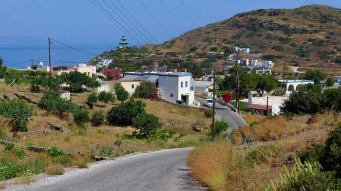 Greece, Greek Islands, Cyclades, Siros, Syros, Kini Bay, Kini beach, Kini village, landscape, road, hill
