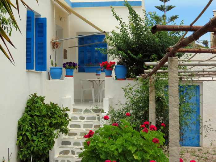 Greece, Greek Islands, Cyclades, Siros, Syros, Kini Bay, Kini beach, Kini village, landscape, house, plants, flowers,