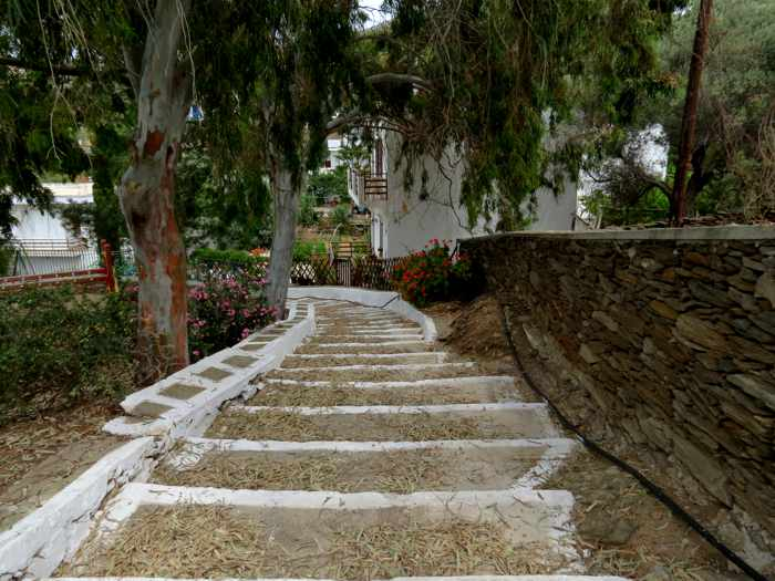 Greece, Greek Islands, Cyclades, Siros, Syros, Syros island, Kini, Kini Bay, Kini Bay Syros, village, landscape, steps, trees