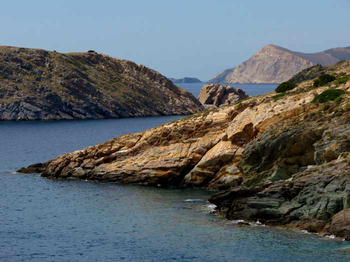 Greece,Greek Islands, Cyclades, Siros, Syros, Syros island, coast, sea, shore, landscape, rock, cliffs,