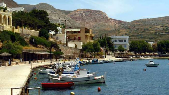 Greece, Greek Islands, Cyclades, Siros, Syros, Kini Bay, Kini beach, Kini village, landscape, coast, seaside, harbour, fishing boat, boat, Kini Beach, Kini Beach Syros, boats, harbour, harbor,