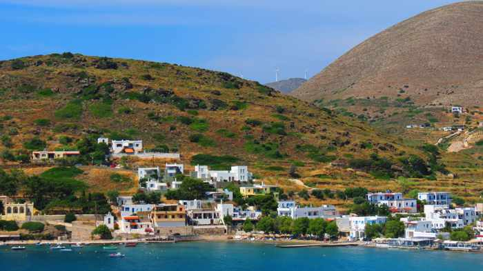 Greece, Greek Islands, Cyclades, Siros,Syros, Syros island, Kini, Kini Bay, Kini Bay Syros, Sini village, village, mountains, hills