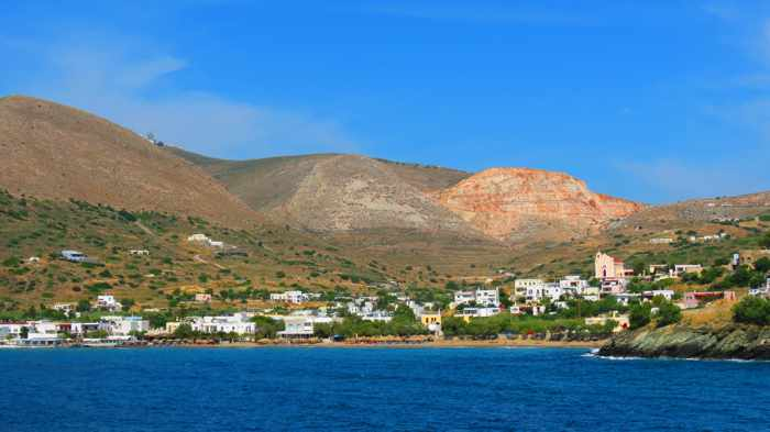 Greece, Greek Islands, Cyclades, Siros, Syros, Kini Bay, Kini beach, Kini village, landscape, coast, seaside, village, mountains