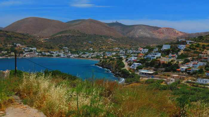 Greece, Greek Islands, Cyclades, Siros,Syros, Syros island, Kini, Kini Bay, Kini Bay Syros, Sini village, village, hills, mountains