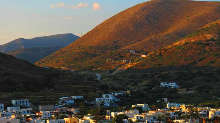 Greece, Greek Islands, Cyclades, Siros, Syros, Syros island, Kini, Kini Bay, Kini village, mountain, hillside, houses,