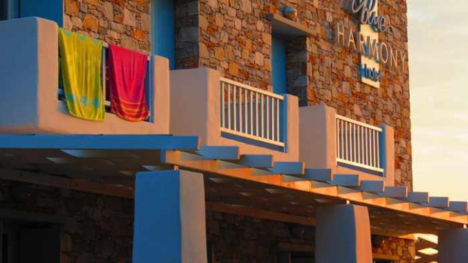 Greece, Greek Islands, Cyclades, Siros, Syros, Kini Bay, Kini beach, Kini village, building, hotel, Blue Harmony Hotel, Blue Harmony Hotel Syros,