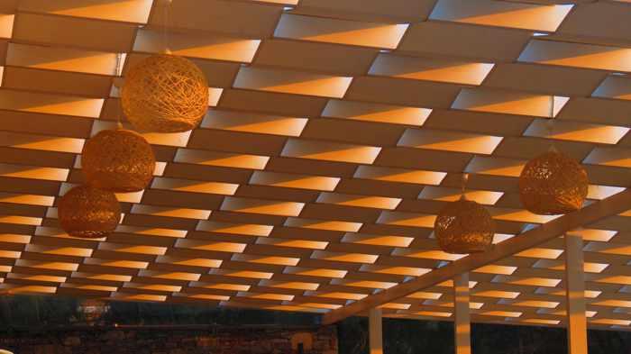 Greece, Greek Islands, Cyclades, Siros,Syros, Syros island, Kini, Kini Bay, Kini Bay Syros, Kini village, Blue Harmony Hotel Syros, veranda ceiling, ceiling