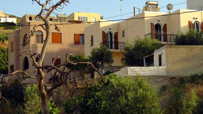 Greece, Greek Islands, Cyclades, Siros, Syros, Syros island, Kini, Kini Bay, Kini Bay village, buildings, houses, apartments,