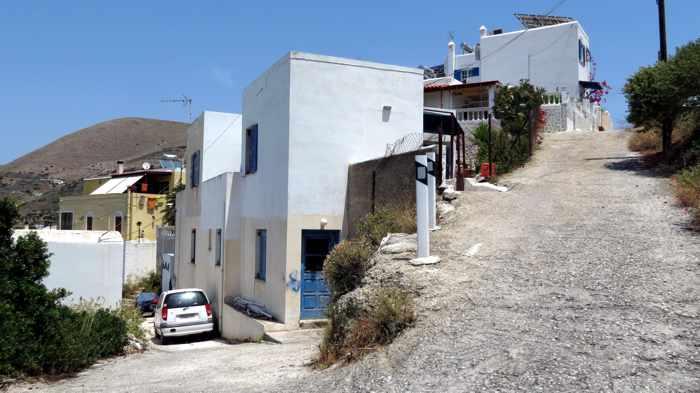 Greece, Greek Islands, Cyclades, Siros,Syros, Syros island, Kini, Kini Bay, Kini Bay Syros, Sini village, village, hillside, lanes, street, road,