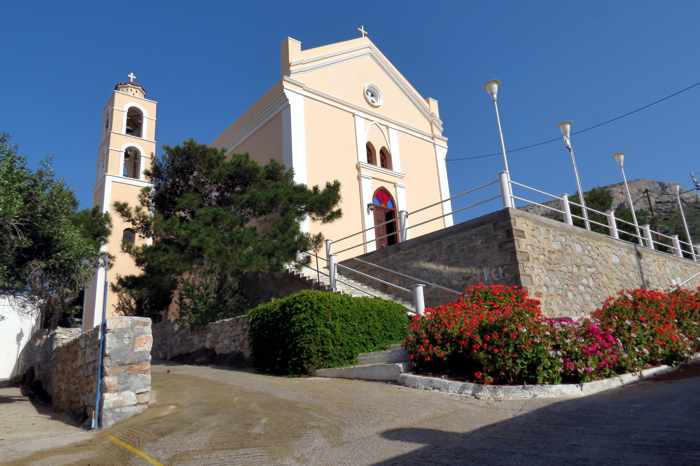 Greece, Greek Islands, Cyclades, Siros,Syros, Syros island, Kini, Kini Bay, Kini Bay Syros, Sini village, village, church, building, Catholic Church,