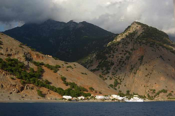 Greece, Greek islands, Crete, southwest Crete, Agia Roumeli, village, coast, mountains, Samaria Gorge,