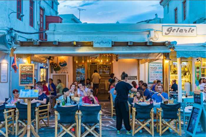 Greece, Greek Islands, Cyclades, Mikonos, Mykonos, Mykonos Town, restaurant, taverna, mezedopoleio