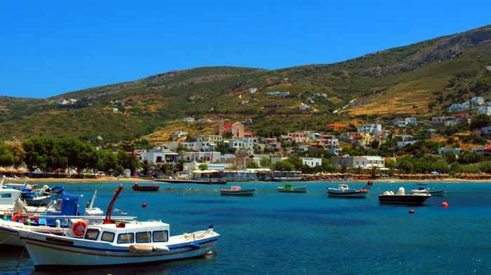 Greece, Greek Islands, Cyclades, Siros, Syros, Kini Bay, Kini beach, Kini village, landscape, coast, seaside, beach, Kini Beach, Kini Beach Syros, village,
