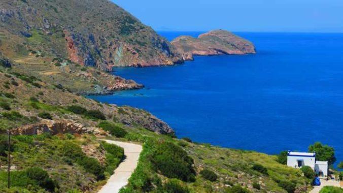 Greece, Greek islands, Cyclades, Siros, Syros,Syros island, trail, footpath, path, walking route, hiking trail, hiking, landscape, coast, sea