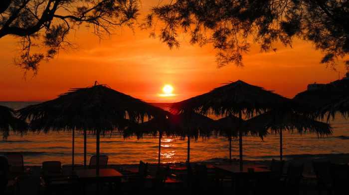 Greece, Greek islands, Siros, Syros, Syros island, Kini, Kini beach, Kini beach Syros, Kini Syros, beach, organized beach,sandy beach, sunset,
