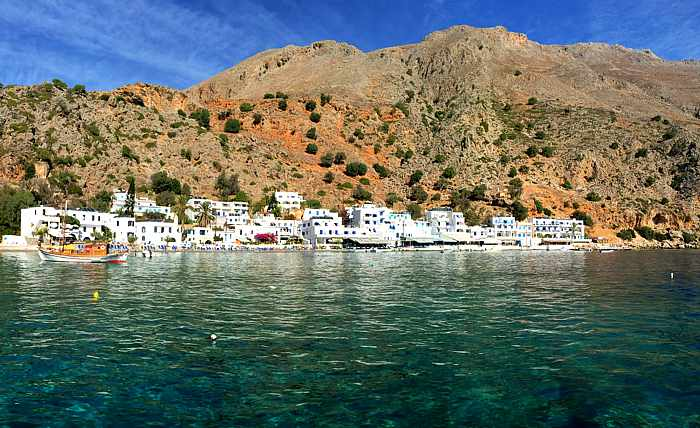 Greece, Greek islands, Crete, southwest Crete, Loutro, Loutro village, village, mountains, coast, seaside