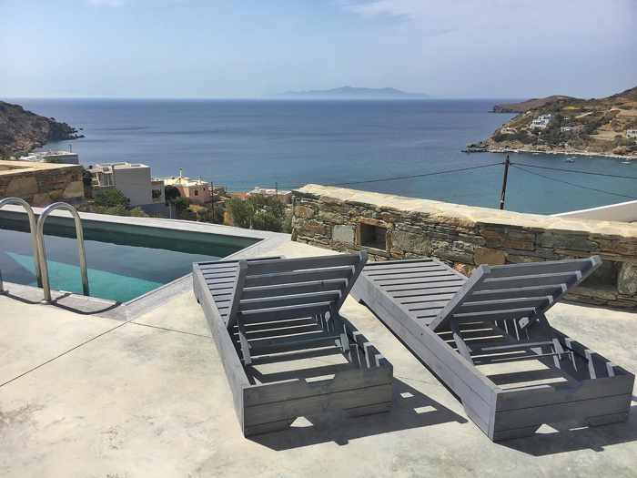 Greece, Greek islands, Cyclades, Siros, Syros, Syros island, Kini Bay, Kini, Kini Bay on Syros, accommodations, hotel, bed & breakfast, Pini di Loto Syros, Pini di Loto B&B at Kini Bay Syros, plunge pool, pool terrace,