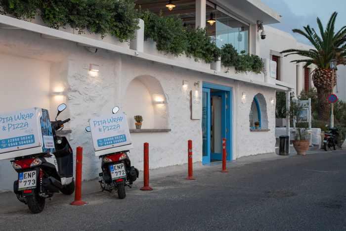 Greece, Greek Islands, Cyclades, Mikonos, Mykonos, Mykonos Town, restaurant, taverna, estiatorio, Roca Cookery, Roca Veranda, Roca Cookery Mykonos, Pita Wrap Pizza Mykonos, Mykonos pizza, Mykonos fast food
