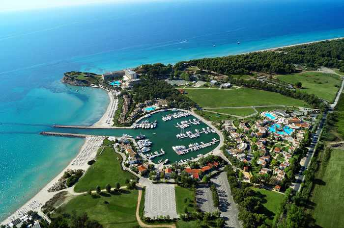 Greece, Greece mainland, Mainland Greece, Halidiki, Kassandra, Sani Resort, Porto Sani resort, aerial view
