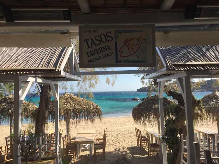 Greece, Greek islands, Cyclades, Mikonos, Mykonos, taverna, restaurant, beach taverna, Paraga beach Mykonos,