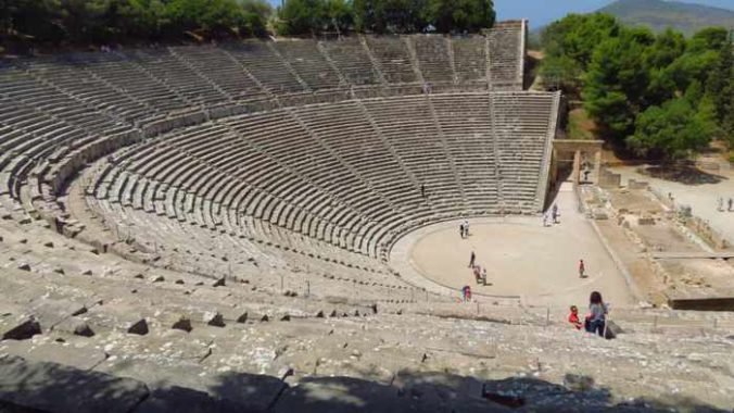 Greece, mainland Greece, Peloponnese, Epidaurus, Great Theatre of Epidaurus, amphitheatre, historic site, World Heritage Site, ancient Greece, Epidaurus theatre