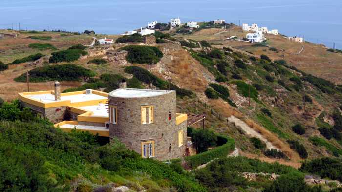 Greece, Greek islands, Cyclades, Siros, Syros,Syros island, trail, footpath, path, walking route, hiking trail, hiking, landscape, buildings, houses, villas