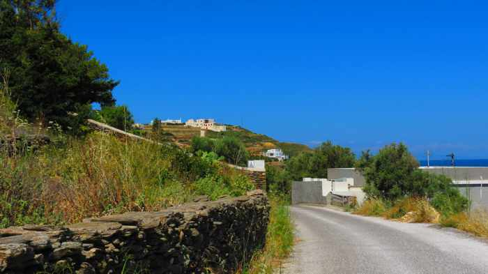 Greece, Greek islands, Cyclades, Siros, Syros, Syros island, Kini, Kini Bay, Kini village, road, countryside