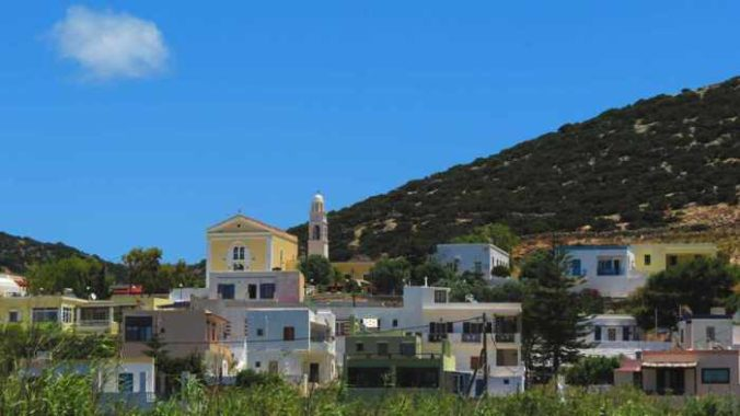 Greece, Greek islands, Cyclades, Siros,Syros, Syros island, Galissas, village, buildings